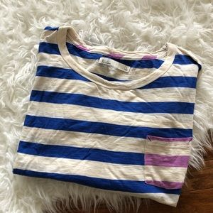 Blue and purple striped tee